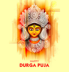 Goddess durga face in happy durga puja subh vector