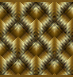 Gold 3d striped tiled rhombus seamless pattern vector