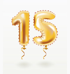 golden number fifteen metallic balloon vector image