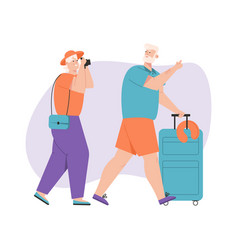 grandfather and grandmother traveling together vector image