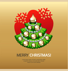 greeting card with christmas tree and gold vector image