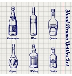 Hand drawn bottles sketch set vector image