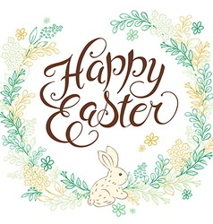 Hand drawn easter lettering greeting quote with vector