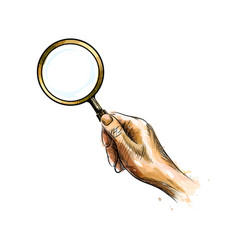 Hand holding magnifying glass from a splash of vector