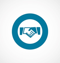 Handshake bold blue border circle icon vector