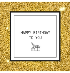 Happy Birthday greeting card with ribbons and line vector image