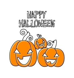 Happy pumpkins Halloween design card template vector