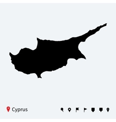 High detailed map of Cyprus with navigation pins vector image