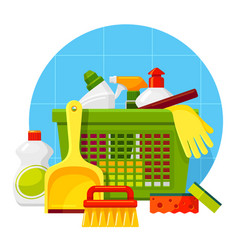 Household cleaning washing products flat vector