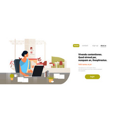 Indian businesswoman using laptop working process vector