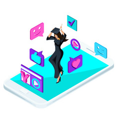 isometric girl graduate jumping is happy academ vector image