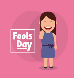 Laughing woman funny fools day celebration vector