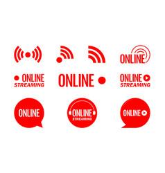 Live streaming logo - red design element vector