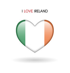 love ireland symbol flag heart glossy icon on a vector image