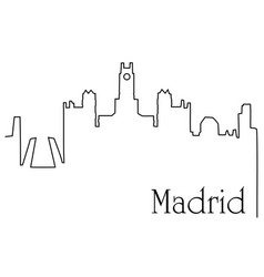 Madrid city one line drawing background vector