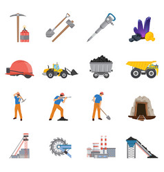 minerals mining flat icons set vector image