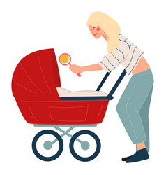 mother playing with newborn child in buggy vector image