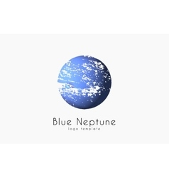 Neptune logo Planet logo Comic logo Space logo vector image
