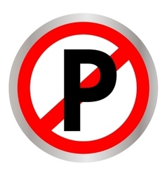 No parking sign icon on white background vector image