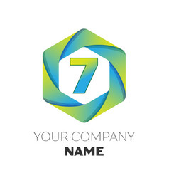 number seven symbol on colorful hexagonal vector image