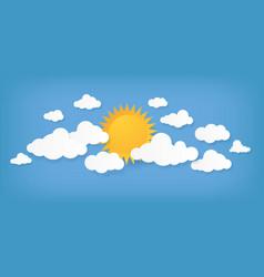 paper cut clouds origami cloudscape sun vector image