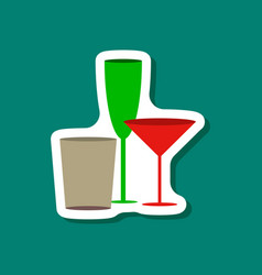Paper sticker cocktail glasses vector