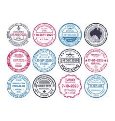 Passport visa stamps airport immigration control vector