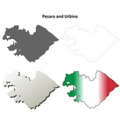Pesaro and Urbino blank detailed outline map set vector