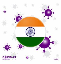 Pray for india covid-19 coronavirus typography vector
