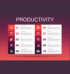 Productivity infographic 10 option template vector