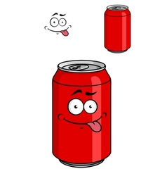 Red soda can with a goofy comical look vector