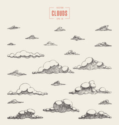retro clouds engraving hand drawn sketch vector image