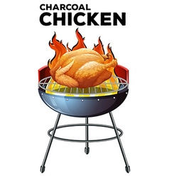 Roasted chicken on the grill vector
