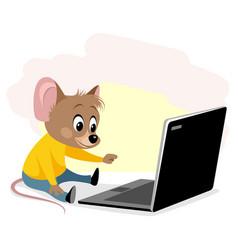 Rodent at computer vector
