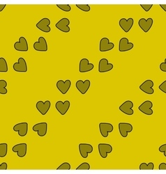 Seamless pattern with hearts on yellow background vector