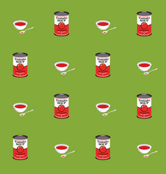 Seamless pattern with tomato soup in cans and vector