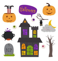set of isolated halloween elements part 1 vector image