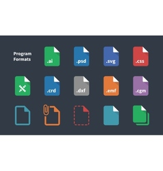 Set of Program File Formats and Labels icons vector