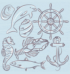 Set of summer symbols ship rudderanchor vector