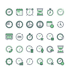 Set of time related line icons vector