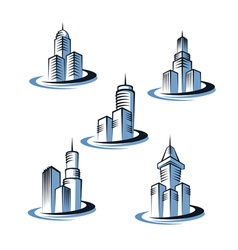skyscrapers and real estate logos vector image vector image