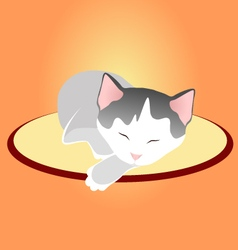 Sleeping kitten on soft cover in silence vector
