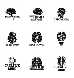 Smart brain logo set simple style vector