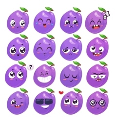 Smiles set of fruit characters cute vector image