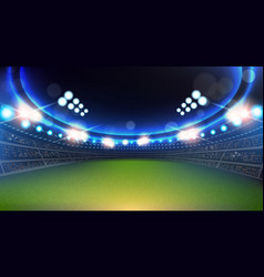 Sport stadium with lights and tribunes background vector