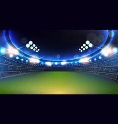 Sport stadium with lights and tribunes background vector