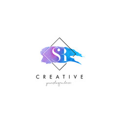 sr artistic watercolor letter brush logo vector image