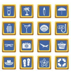 Summer rest icons set blue vector