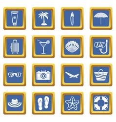 summer rest icons set blue vector image