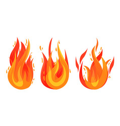 Tongue burning fire and flame set vector